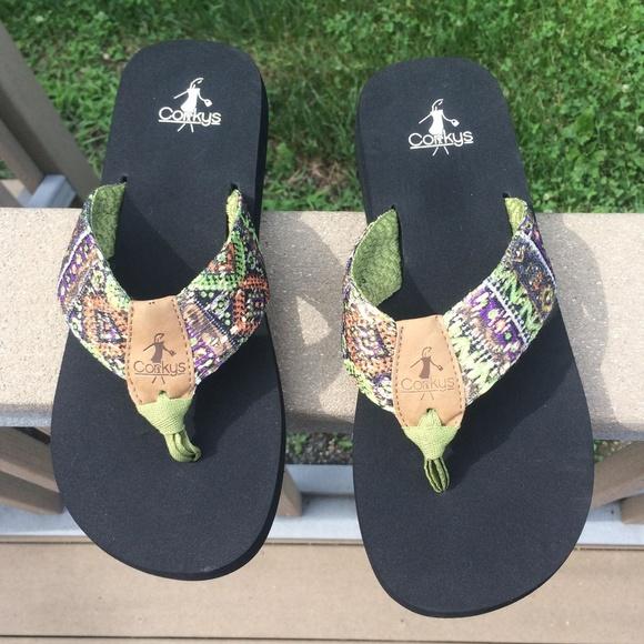 45c05c6f8 Corkys Shoes - Corkys colorful sandals - flip flops - Size 9